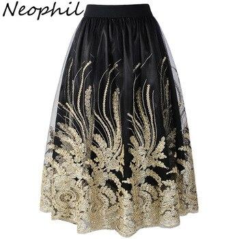 Neophil-Женская юбка из тюля в стиле ретро, юбка из тюля с высокой талией и цветочными блестками, лето 2020, юбка из тюля S1710