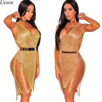 Платье женское, летнее, Пляжное, золотое, с блестками