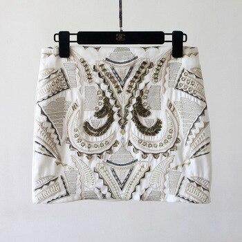 Женская облегающая мини-юбка с блестками, белая, 2 цвета