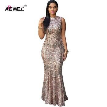 Женские вечерние платья с блестками ADEWEL, длинное облегающее платье с круглым вырезом, серебристое платье макси, лето 2019